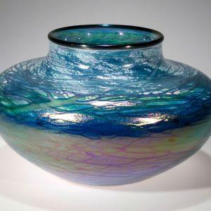 Low Vase - Luster Series - Aqua