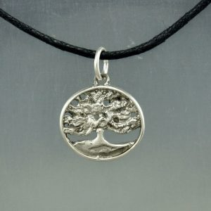 Spreading Live Oak Tree in Sterling Silver, Forest Life Tree Pendant Necklace