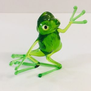 Dancing Frog Glass Figurine