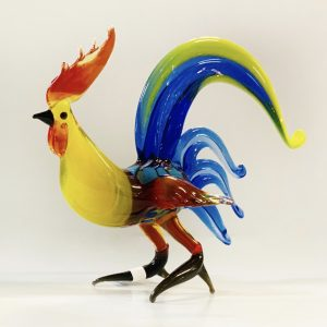 Fighting Rooster- Standing Handblown Glass Figurine