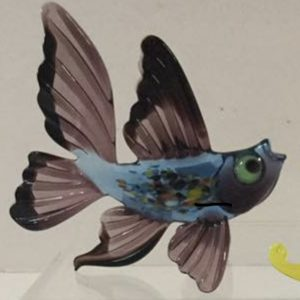 Black and Blue Exotic Fish Glass Figurine