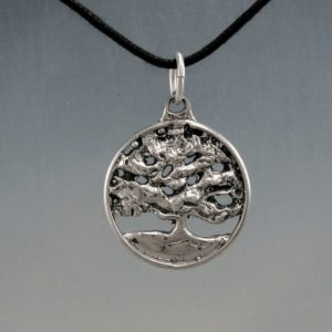 Round Tree Live Oak in Sterling Silver, Forest Life Tree Pendant
