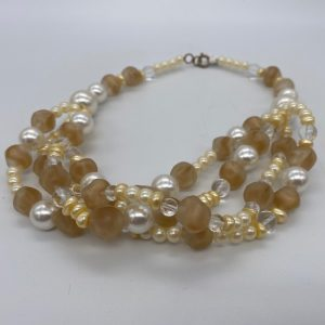 Apricot Stone and Fresh Water Pearl Necklace