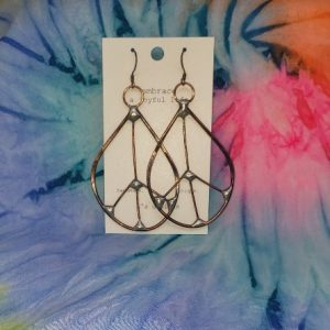 Hammered Metal Oval Peace Earrings