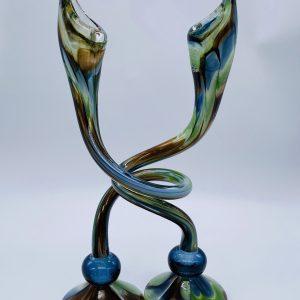 Jack N' Pulpit Candlesticks- Blue, Brown and Green (Short)