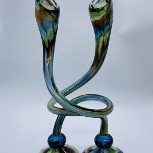 Jack N' Pulpit Candlesticks - Blue, Brown and Green (Tall)