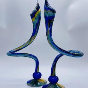 Jack N' Pulpit Candlesticks - Cobalt, Blue and Gold (Tall)