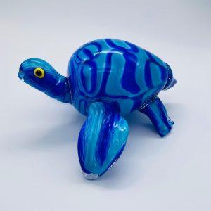 Turtle Glass Sculpture - Cobalt