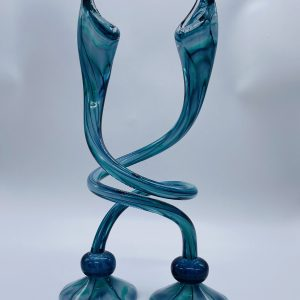 Jack N' Pulpit Candlesticks - Sea foam and Blue (Tall)