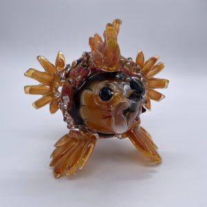 Glass Puffer Fish Sculpture-Small Autumn